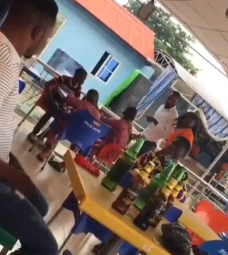 Nigerian bar manager sends underage boys who were drinking beer out of his bar (video)